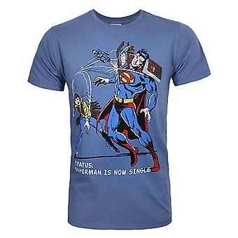 Junk Food Superman Is Now Single Men's T-Shirt Blue