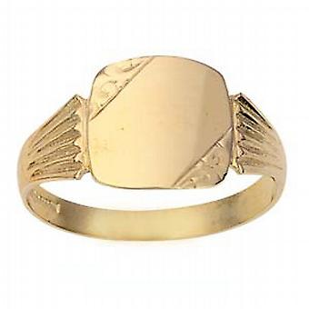 9ct Gold 12x12mm gents engraved TV shaped Signet Ring Size X