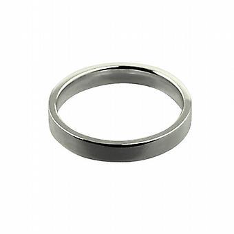 """9 قيراط الذهب الأبيض 3 مم عادي المحكمة مسطحة على شكل """"خاتم الزواج ف الحجم"""""""