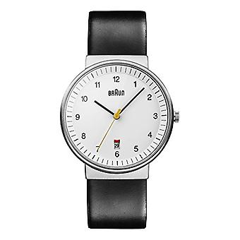 Braun Mens Quartz Analog wrist watch with leather strap BN0032WHBKG