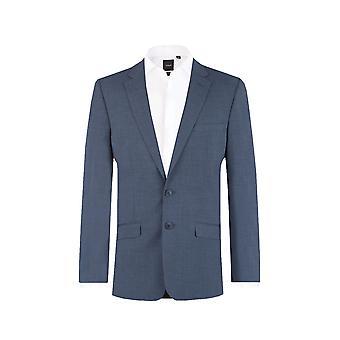 Dobell Mens Mississippi blauw 2-delig kostuum Slim Fit Notch revers