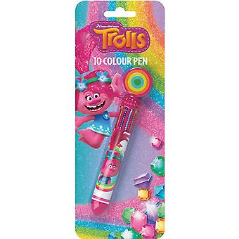 Trolls Novelty Multifunctional Pen With 10 Different Colour Eraser Top