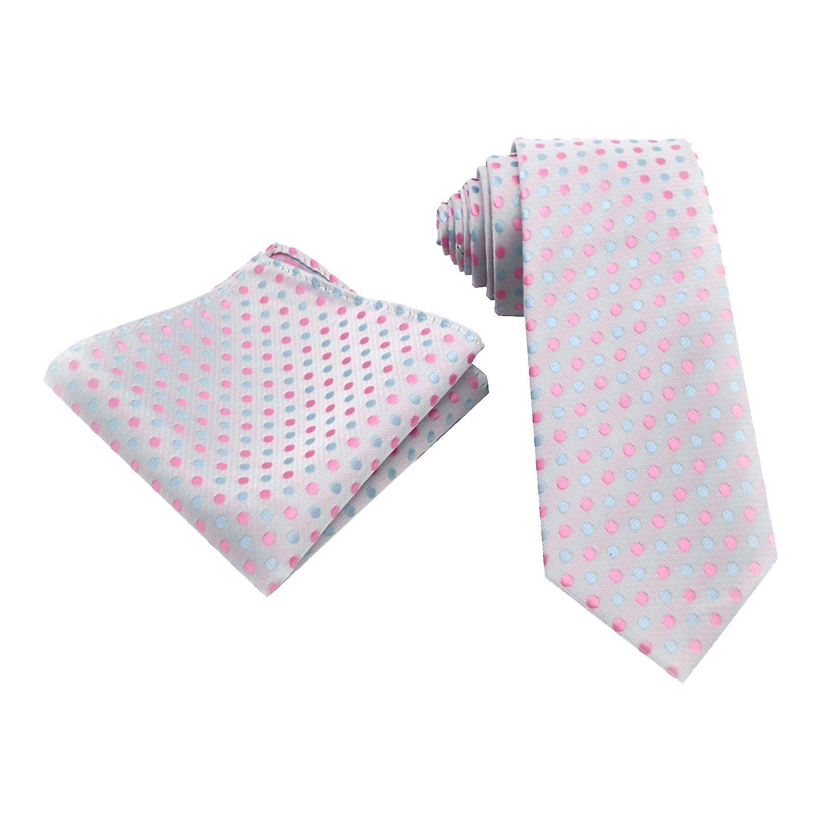 Silver pink grey polka dot spot tie & pocket square set