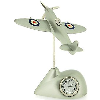 Miniature Silver Techno Flying Spitfire Novelty Desktop Collectors Clock 0487