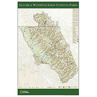 Glacier & Waterton Lakes National Parks - Tubed - Wall Maps U.S. by Na