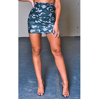 IKRUSH Womens Harri High-Waisted Camo Print Skirt