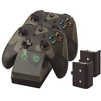Twin docking station med 2 x genopladelige batteripakker: camo (Xbox One)