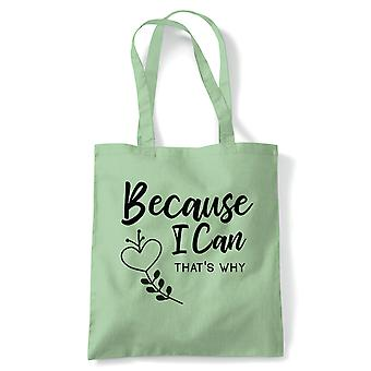 Because I Can Sarcastic Tote | Humour Laughter Sarcasm Jokes Messing Comedy | Reusable Shopping Cotton Canvas Long Handled Natural Shopper Eco-Friendly Fashion