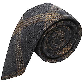 Denim blauw & oranje Birdseye weven Check Tie