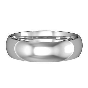Κοσμήματα Λονδίνο 9ct λευκό χρυσό-5mm ουσιώδη σχήμα Δικαστηρίου δέσμευση/δαχτυλίδι δέσμευσης γάμου