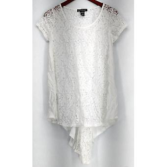 Kate & Mallory korte mouw Lace top + knop sluiting terug wit A425525