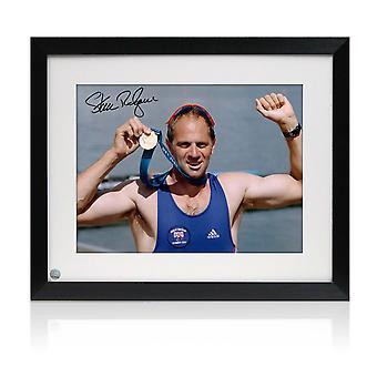 Steve Redgrave signiert Olympia Rudern Foto: Sydney Goldmedaille. Gerahmt