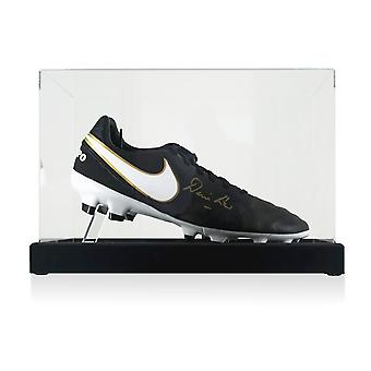 Denis Law Signed Football Boot In Display Case