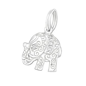 Elephant - 925 Sterling Silver Charms With Split Ring - W20008x