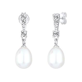 Elli náušnice dámské perla v silver 925 s Crystal Swarovski River Pearl