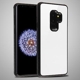 MYBAT White Tempered Glass/Black Fusion Protector Cover  for Galaxy S9 Plus