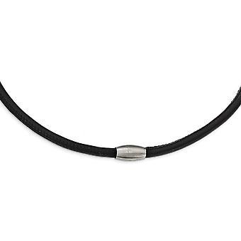 Edelstahl gebürstet schwarz Leder Halskette 21,5 Zoll Schmuck Geschenke für Frauen