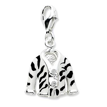 925 Sterling Silver Rhodium plated Fancy Lobster Closure Click on CZ Cubic Zirconia Simulated Diamond Enamel Zebra Jacke