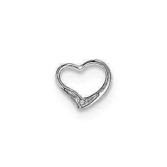 925 Sterling Silver Polished Rhodium plated Rhodium Diamond Floating Love Heart Pendant Necklace Jewelry Gifts for Women
