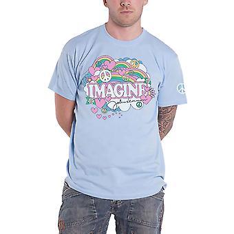 John Lennon T Shirt Rainbows Love & Peace Logo new Official Mens Blue