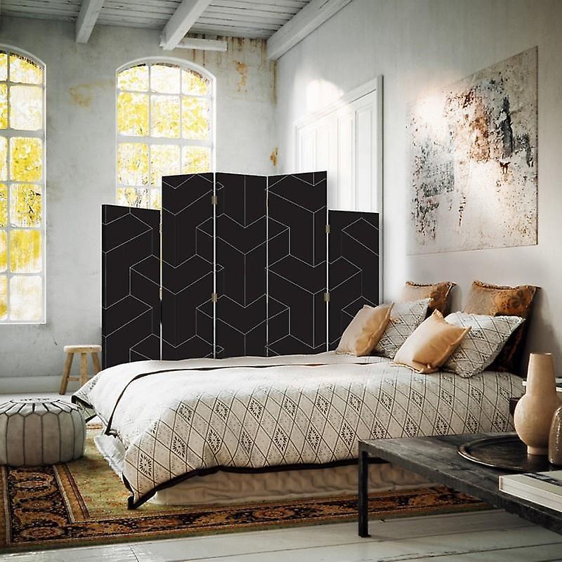Diviseur de salle décorative, 5 panneaux, double-sided, Rotatable 360 ?? Toile, Figures géométriques 2