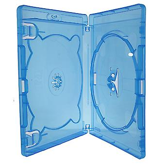 Replacement 15mm spine blu ray retail case for 2 discs -  2 pack blue