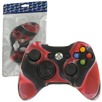 Soft silicone rubber skin grip cover case for microsoft xbox 360 controller - camo red