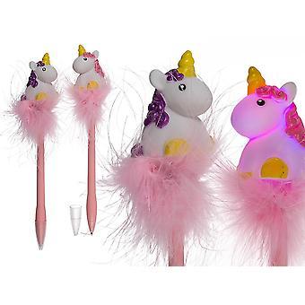Pluma de LED unicornio juego de 2 función luz, multicolor de plástico, pilas, 2 piezas.