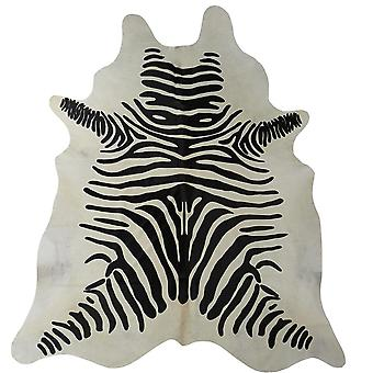 6' Black and White Stenciled Cowhide Rug