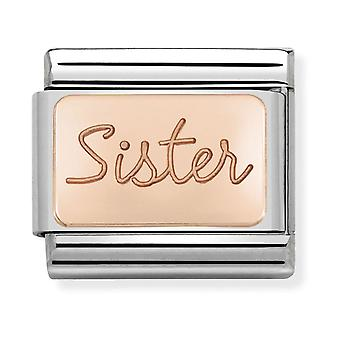 Nomination Classic Sister Steel and 9k Rose Gold Link Charm 430101/38