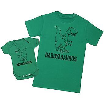 ダディサウルス&バビサウルス - メンズTシャツ&ベビーボディスーツ