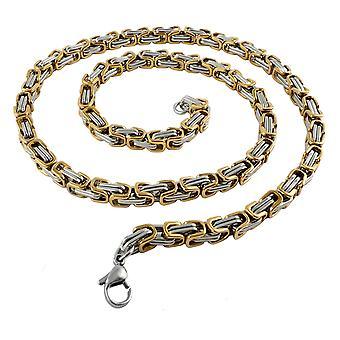 6 mm królewska bransoletka łańcuszkowa męski naszyjnik męski naszyjnik, 80 cm srebrny / złoty łańcuch ze stali nierdzewnej