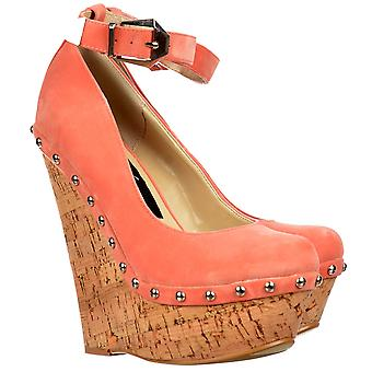 Onlineshoe Studded Ankle Strap Wedge Shoes - Cork Studded Heel - Coral Suede Studded