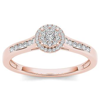Igi gecertificeerd 10k massief roségoud 0,25 ct diamant halo verlovingsring