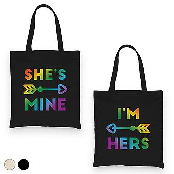 LGBT She's Mine I'm Hers Rainbow BFF Matching Canvas Bags Gift