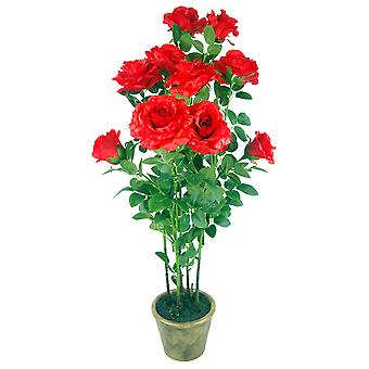 90cm (3ft) Artificial Rose Tree Large Plant Red in Ceramic Planter
