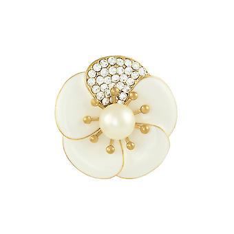 Ikuinen kokoelma Camellia Pearl ja kristalli valkoinen emali huivi Clip
