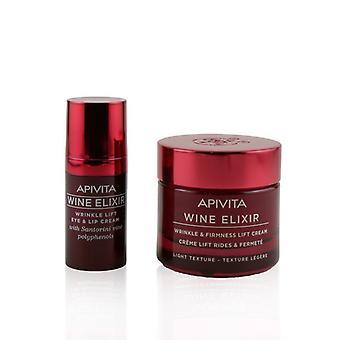 Apivita Bee Young Set: Wine Elixir Wrinkle & Firmness Lift Cream 50ml+ Wine Elixir Wrinkle Lift Eye & Lip Cream 15ml - 2pcs