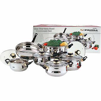 12 Piece Stainless Steel Cookware Saucepan Set Pan Pot Kitchen Cooking Glass Lid