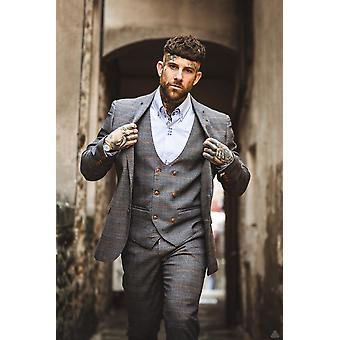 Marc Darcy Jenson Grey Tan Check Suit Blazer