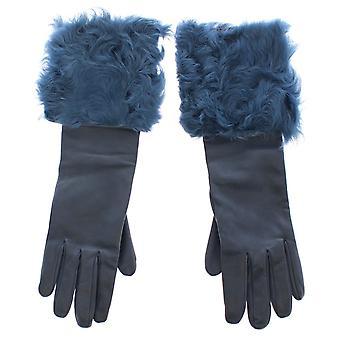 Dolce & Gabbana Blue Lambskin Leather Fur Logo Wrist Gloves
