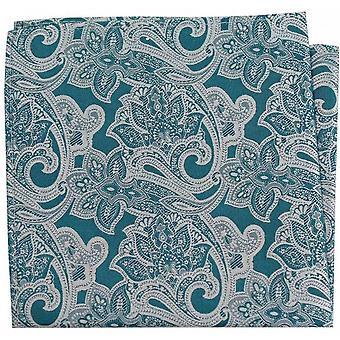 David Van Hagen Edwardian Paisley Silk Pocket Square - Verde