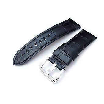 Strapcode التماسيح الحبوب ووتش حزام 24mm crococalf (كروكولا) غير لامع حزام ساعة سوداء مع غرز سوداء، مصقول المسمار في مشبك