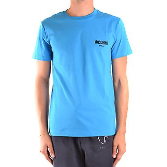 Moschino Ezbc015136 Mannen's Light Blue Cotton T-shirt