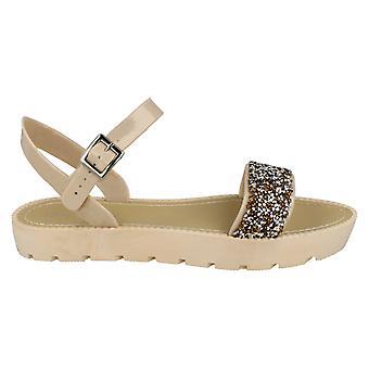Savannah Womens/Ladies Glitter Mule Ankle Strap Sandals