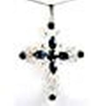 CRYSTAL WORLD Sterling Silver Montana Cross Pendant made with Swarovski crystals