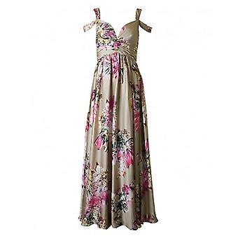 Forever Unique Satin Floral Long Dress