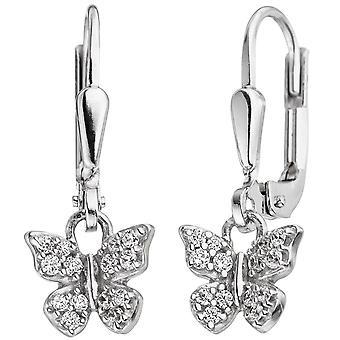 Children earrings Butterfly 925 Silver with cubic zirconia earrings, kids earrings
