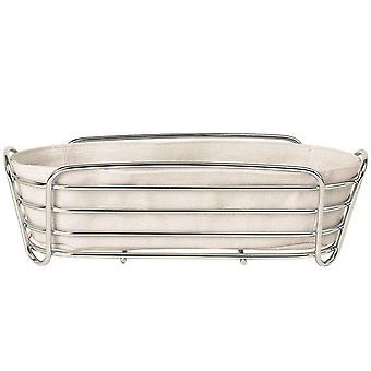 Blomus bread basket DELARA chromed steel wire with cotton insert Moonbeam beige