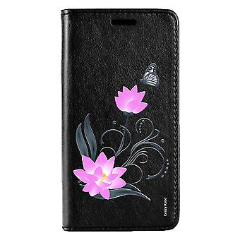 Case For Huawei P20 Lite Black Pattern Lotus Flower And Butterfly